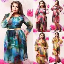 Womens 3/4 Sleeve Summer Floral Print Casual Evening Party Plus Size Tunic Dress