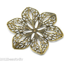 wholesale Bronze Tone Filigree Flower Wraps Connectors 6x5.3cm