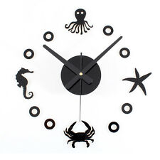 Mediterranean DIY Wall Clock Watch Home Decor Starfish Hippocampus Crab Octopus