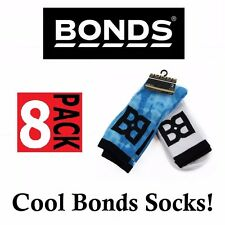 8 PACK MENS BONDS BLUE WITH BLACK CREW SPORTS GYM RUNNING CUSHIONED SOCKS SIZE