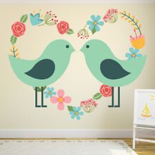 Love Birds With Floral Love Heart Animals Colour Wall Stickers Kids Art Decals