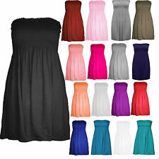 WOMEN'S LADIES PLAIN BOOBTUBE BANDEAU SUMMER STRAPLESS SHORT SHARING DRESS TOP