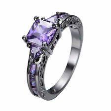 Size 6-10 Purple Amethyst Band Women's 10KT Black Gold Filled Wedding Party Ring