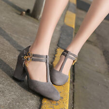 Fashion Women's T-Strap Buckle Mary Jane Block Heel Pump Suede Shoes NEW US SIZE
