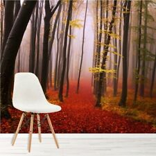 Misty Red Forest Wall Mural Trees Wood Photo Wallpaper Living Room Bedroom Decor