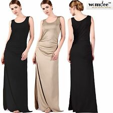 Womdee Women Summer Sleeveless Scoop Neck Side Slit Casual Party Long Maxi Dress