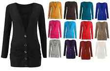 New Women's Ladies Plain Ruched Button Boyfriend Cardigan With Pockets Size 8-26