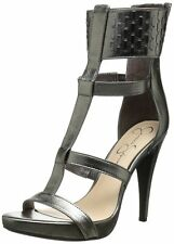 Jessica Simpson Womens Celsus Fashion Pump Gray Leather Ankle Cuff Open Toe Heel