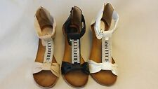 LADIES WOMENS GLADIATOR STRAPPY WEDGE MID LOW HEEL SUMMER BEACH SANDAL SHOE SIZE