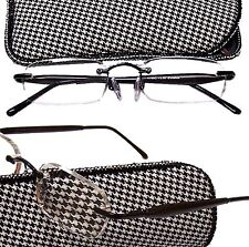 EBONY Wood Temple CALABRIA Rimless   Reading Glasses Spring Temple Hinges Rx