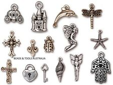 TIERRACAST Pewter Charms .999 Silver Plated - Many Designs - BEADS & TOOLS AUST