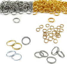 100Pcs Open Gold Double Split Jump Rings Metal Gift Connectors Silver 7/8/10mm