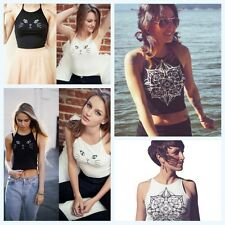 Women Summer Spaghetti Strap Cute Cat Floral Tank Top Casual T-shirt Blouse Tops
