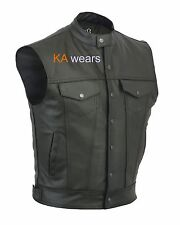 Mens Motorcycle Biker Full Real Leather Waistcoat Black Vest Jacket Pockets