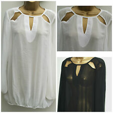 New THREADS Plus Size Black White Bubble Hem Blouse Sheer Tunic Top 16 - 26