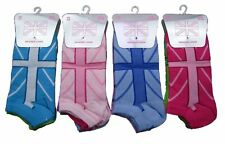 12 Pairs Union Jack Flag Design Trainer Socks Sport Liner size 4-6