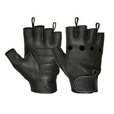 Hugger Deerskin Fingerless Motorcycle Gloves Gel Padded Palm Mens S, M, L, XL