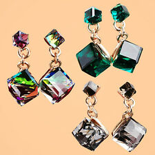 Classic Women's Square Shaped Cubic Pendant Earrings Ear Studs Lady's Jewelry