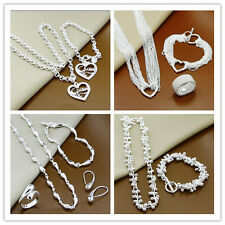 WHOLESALE JEWELLERY 925SOLID SILVER NECKLACE EARRING RING BRACELET SET JEWELRY