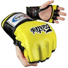 Fairtex Ultimate Combat MMA Gloves - Open Thumb - Yellow / Black
