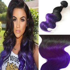 SILK SKIN WEFT 1b/PURPLE BALAYAGE OMBRE REMY HUMAN HAIR EXTENSIONS BLACK PURPLE