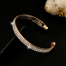 Women Lady Silver Gold Crystal Rhinestone Wristband Bangle Cuff Bracelet Jewelry