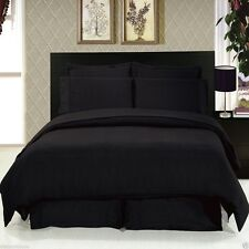 8pc Black Bedding Duvet Cover Set w/Microfiber Sheets AND White Comforter