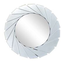 Art Deco Style LARGE Bevelled Cut Silver Round Mirror NEW Bathroom Hall 60cm