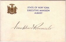 Superb, Franklin D. Roosevelt Signed, Governor's Card Of New York, Excellent