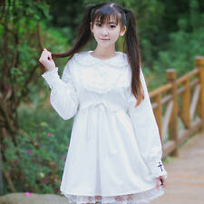 Sweet Lolita Retro Lace Cross Retro Dress Gothic Doll Collar Long Sleeve Kawaii#