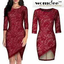 Womdee Women's Vintage Lace Evening Prom Bodycon Party Bridesmaid Cocktail Dress