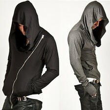 Mens Fashion Top Striking Unbeatable Style Arm Warmer Diagonal Zip-up Hoodie