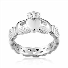 Classic 925 Sterling Silver Claddagh Ring Heart Celtic Crown Irish Wedding Band