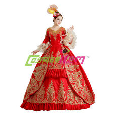 Red Medieval Renaissance Ball Gown Wedding Dress Royal Court Stage Costume