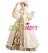 Champagne Medieval Renaissance Ball Gown Wedding Dress Royal Court Stage Costume