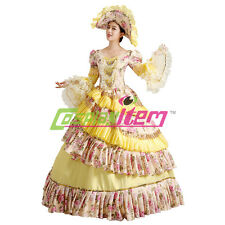 Yellow Medieval Renaissance Ball Gown Wedding Dress Royal Court Stage Costume