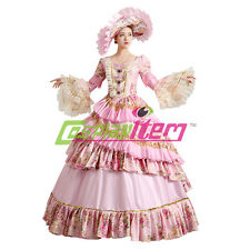 Pink Royal Court Stage Costume Medieval Renaissance Ball Gown Wedding Dress