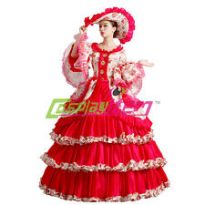 Red Gothic Lolita Medieval Renaissance Victorian Ball Gown Wedding Dress Costume