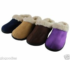 Ladies Hardsole Faux Fur Lined Slipper Mules - Available in 4 Colours