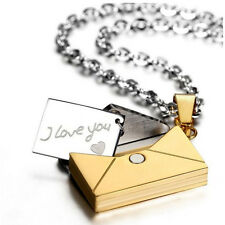 Stainless Steel Envelope I Love You Charm Couple Pendant Necklace Lover's Gifts