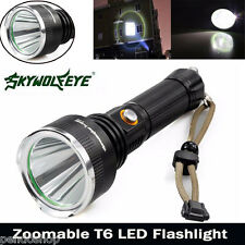 Sky Wolf 5000LM CREE XM-L T6 LED 5Modes Flashlight 18650 Torch Zoomable Lamp