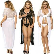 Lingerie Robe Long Gown + G String Black White Plus Size Wedding Bridal Fur Trim