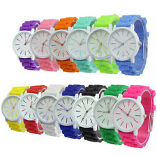 Women Geneva Silicone Rubber Jelly Gel Quartz Casual Sports Wrist Watch