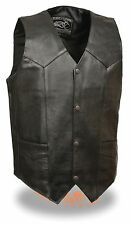Men's Promotional Grade Split Skin Black Plain Side Leather Vest w/ Snap Front