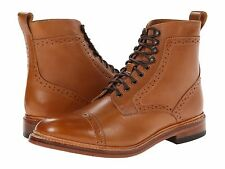 Stacy Adams Mens Tan Leather  Madison Lace up Ankle Cap Toe Trendy Medium Boot