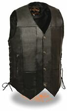 Mens 10 Pocket Black Leather Biker Vest w/ Side Laces & Inside Gun Pockets