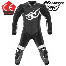 15 Berik Vision CE Race Motorcycle 1pc Leather Suit Black /Road Bike Track Ride