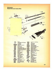 WINCHESTER MODEL 64A  LEVER ACTION RIFLE WITH  EXPLODED VIEW/PARTS LIST 1974 AD