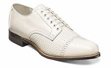 Stacy Adams Mens White Madison Leather  Business Dress Formal Cap Toe Dress Shoe