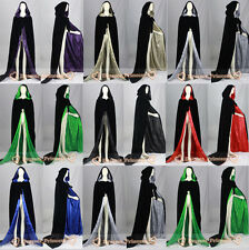 Halloween Velvet Hooded Cloak Cape Witchcraft Christmas Wedding Stock Size S-XXL